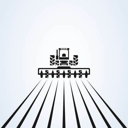 Illustration pour Farming with tractor with cultivator and plow  design.  vector design. Farm industries and agronomy, illustration - image libre de droit