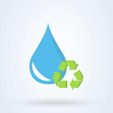 Photo pour Recycle water droplet and conservation. vector flat blue design illustration. - image libre de droit