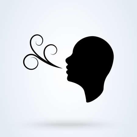 Illustration pour Having breath difficulties. Simple vector modern icon design illustration. - image libre de droit