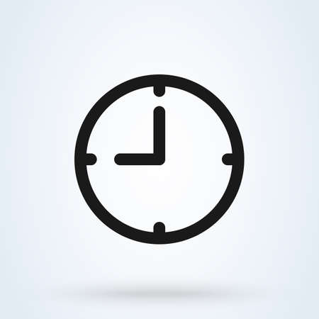 Illustration pour Clock icon in trendy flat style isolated on background. Clock logo, vector illustration - image libre de droit