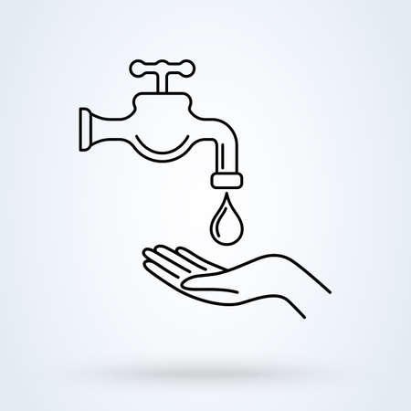 Illustration for Wash your hands vector illustration in line design style. Perfect icon for prevention of virus infection, sanitary and hygiene concept. - Royalty Free Image
