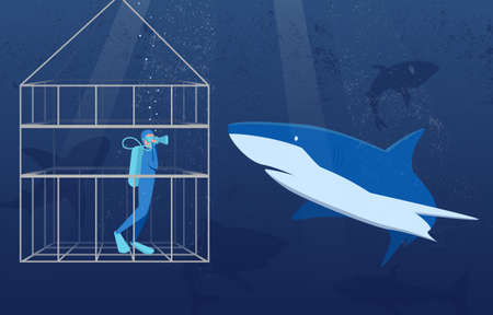 Illustration pour This colourful illustration shows a scuba diver in a special protective cage, he is watching the white shark in its natural habitat. - image libre de droit