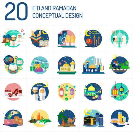 Illustration pour Eid Mubarak and Ramadan Conceptual Design - image libre de droit
