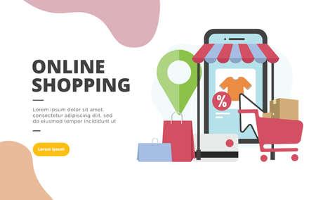 Illustration pour Online Shopping flat design banner illustration concept for digital marketing and business promotion - image libre de droit