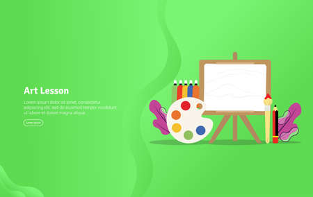 Art Lesson Concept Educational And Scientific Illustration Banner Suitable For Wallpaper Banner Background Card Book Illustration Or Web Landing Page And Use For Marketing Business Or Promotion Royalty Free Vector Graphics