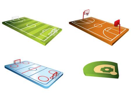 Ilustración de Sport fields 3d - Imagen libre de derechos