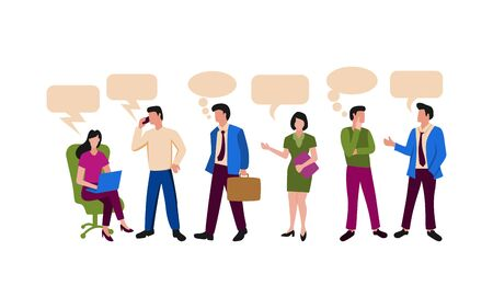 Illustration for People illustration related to office activity or working team. Men and women working actifity for business - Royalty Free Image