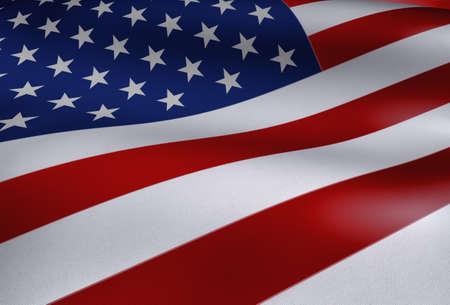 American Flag Waving Close Up Illustration