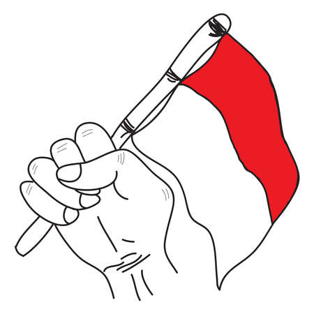 Photo for Hand drawn of the hands holding a red and white flag as a symbol of the Indonesian flag. Isolated on white background - Royalty Free Image
