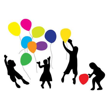 Illustration for Hand drawn of children playing colorful balloons. Children day concept - Royalty Free Image