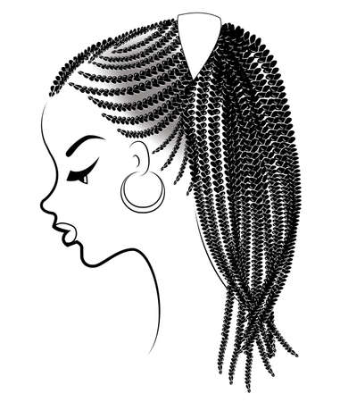 Illustration for Profile of the head of a sweet lady. An African American girl shows her hairstyle on medium and short hair. Silhouette, beautiful and stylish woman. Vector illustration. - Royalty Free Image