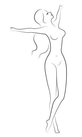 Illustration for Silhouette of a sweet lady. The girl is happy, smiling, standing in a beautiful pose, raised her hands. The woman is nude and slim. Vector illustration. - Royalty Free Image