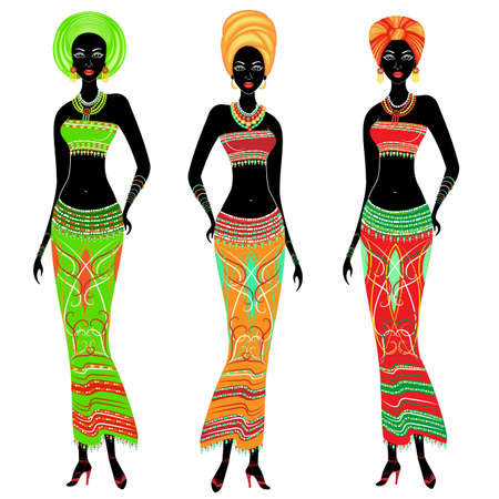 Illustration for A collection of beautiful African American ladies. Girls have bright clothes, a turban on their heads. Women are young and slim. Vector illustration set. - Royalty Free Image