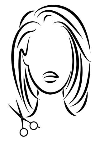 Illustration for Silhouette of a cute lady. The girl shows a hairstyle on medium and long hair and scissors. - Royalty Free Image