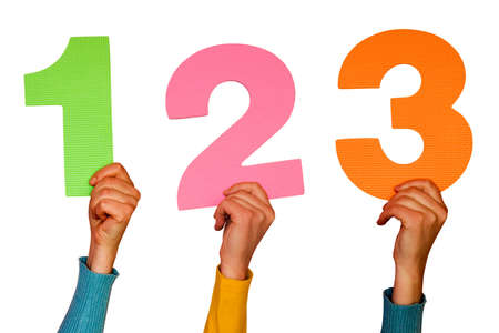one,two and three colorful numbers at hands