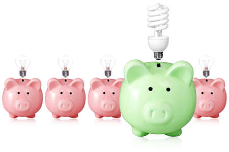 concept for energy saving. piggy banks and light bulbs.