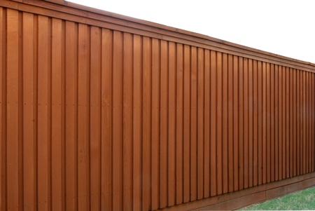 Angle view of cedar fence
