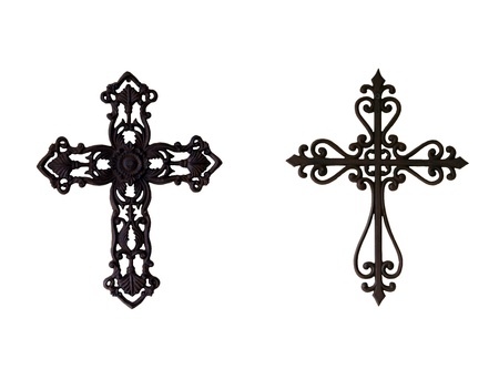 Two ornate iron crosses