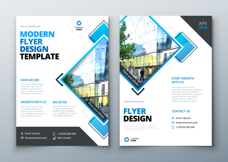 Ilustración de Flyer Design. Corporate business report cover, brochure or flyer design. Leaflet presentation. Teal Flyer with abstract circle, round shapes background. Modern poster magazine, layout, template. A4. - Imagen libre de derechos