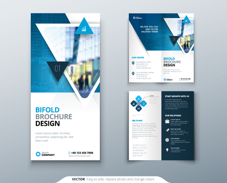 Ilustración de Bi-fold brochure design. Blue template for bi fold flyer. Layout with modern triangle photo and abstract background. Creative concept folded flyer or brochure. - Imagen libre de derechos