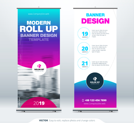 Illustration pour Roll Up banner stand presentation concept. Corporate business roll up template background. Vertical template billboard, banner stand or flag design layout. Poster for conference, forum, shop - image libre de droit