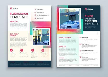 Illustration pour Flyer design. Corporate Template Layout for Flyer Mockup. Modern Concept with Square Rhombus Shapes. Vector Flyer Background. Set - GB075. - image libre de droit