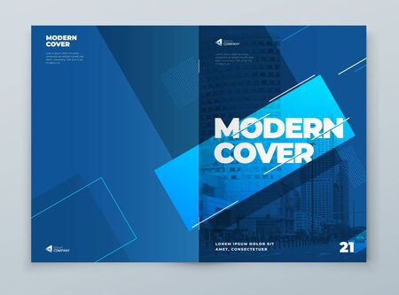 Illustration pour Brochure Template Layout Design. Blue Corporate Business Brochure, Annual Report, Catalog, Magazine, Flyer Mockup. Creative Modern Bright Concept with Line Shapes. Vector - image libre de droit