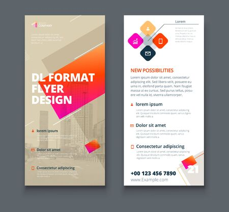 Illustration for Biege DL Flyer design with square shapes, corporate business template for dl flyer. Creative concept flyer or banner layout. - Royalty Free Image