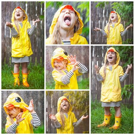 Photo pour Excited little girl standing in rain and screaming with fun. Collage portrait. Kid wearing rubber boots and yellow raincoat standing at fence, laughing and sticking out tongue - image libre de droit