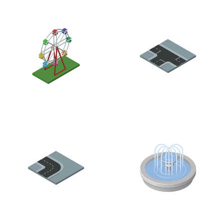 Isometric Architecture Set Of Turning Road, Crossroad, Park Decoration And Other Vector Objects. Also Includes Fountain, Attraction, Wheel Elements.