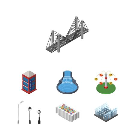 Isometric Architecture Set Of Flower Decoration, Bridge, Swing Attraction And Other Vector Objects. Also Includes Decoration, Telephone, Lights Elements.