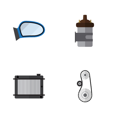 Flat Auto Set Of Heater, Auto Component, Absorber And Other Vector Objects. Also Includes Heater, Radiator, Cambelt Elements.
