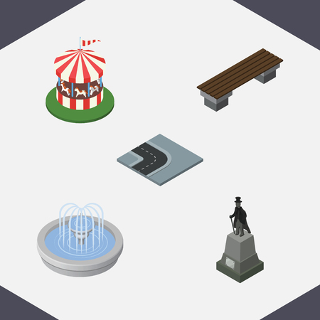 Isometric Architecture Set Of Bench, Carousel, Turning Road And Other Vector Objects. Also Includes Statue, Sculpture, Fountain Elements.