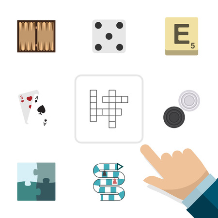 Flat Icon Entertainment Set Of Ace, Multiplayer, Jigsaw And Other Vector Objects. Also Includes Mahjong, Enigma, Games Elements.