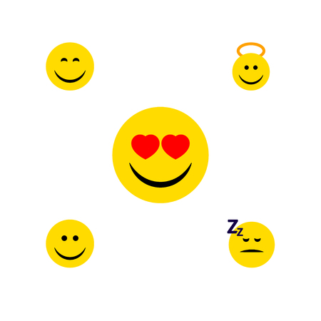 Flat Icon Face Set Of Love, Joy, Asleep And Other Vector Objects. Also Includes Angel, Smile, Sleeping Elements.