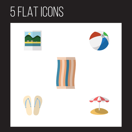 Flat Icon Beach Set Of Wiper, Sphere, Parasol And Other Vector Objects. Also Includes Wiper, Cloth, Sandals Elements.
