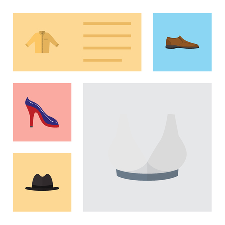 Flat Icon Clothes Set Of Heeled Shoe, Panama, Brasserie And Other Vector Objects. Also Includes Sport, Hat, Panama Elements.