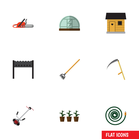 Flat Icon Dacha Set Of Tool, Stabling, Hothouse And Other Vector