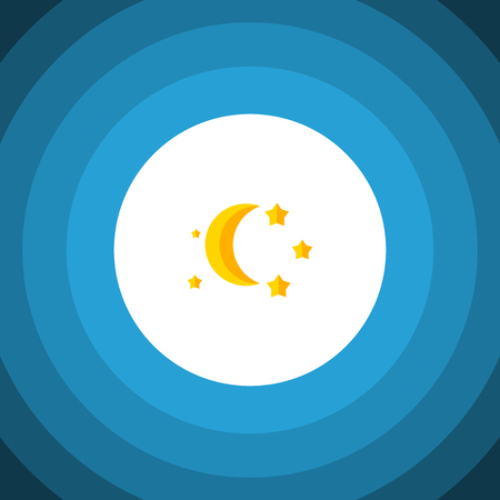 Isolated Twilight Flat Icon. Bedtime Vector Element Can Be Used For Twilight, Moon, Star Design Concept.