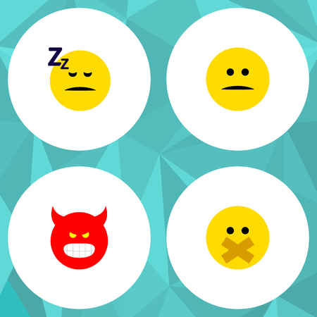 Icon flat expression set of silent, sleeping, angry and other vector objects. Also includes face, smile, silent elements.