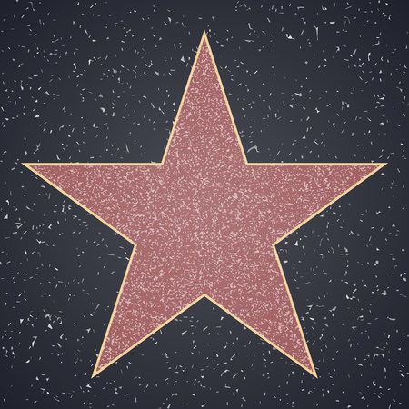 Walk Of Fame. star blank template on granite square background, sign of personal achievements