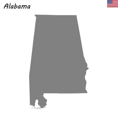 High Quality map state of United States. Alabama: Royalty-free ...