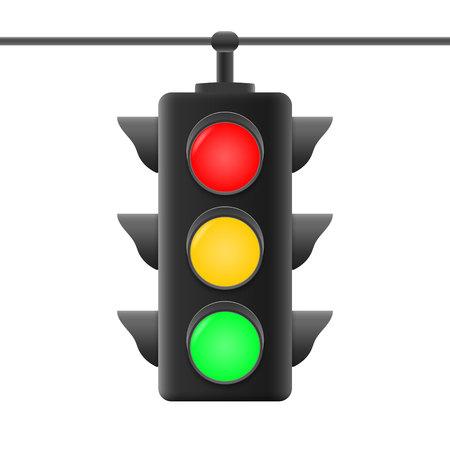 Illustration for Realistic traffic road lights . Vector illustration - Royalty Free Image