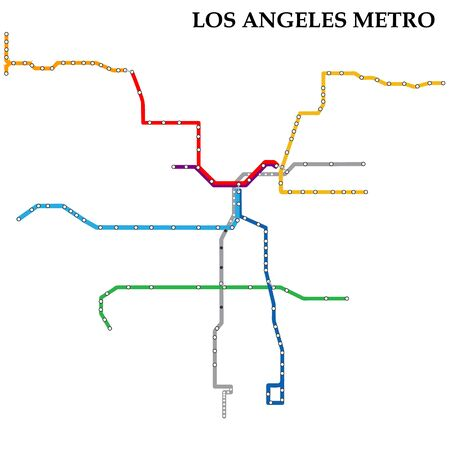 Map of the Los Angeles metro, Subway, Template of city transportation scheme for underground road.