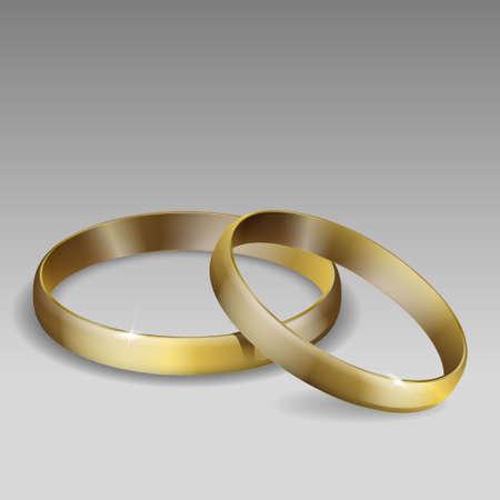 Illustration pour pair of wedding rings. Gold. Realistic 3D vector illustration. Template for your design - image libre de droit