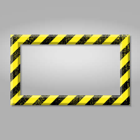 Illustration pour Frame with line yellow and black color. Caution sign. The hazard warning for text Template for your design - image libre de droit