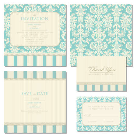 Set of wedding invitations and announcements with vintage background artwork