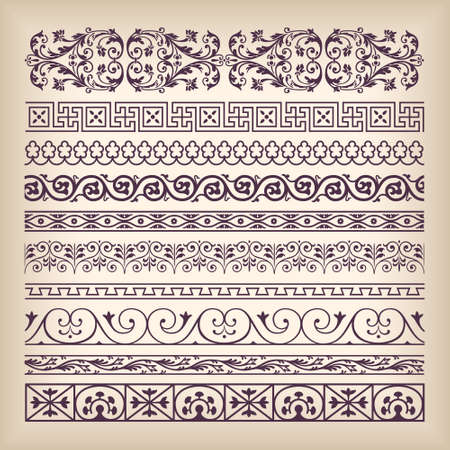 Illustration for Vector set vintage ornate border frame with retro ornament pattern in antique baroque style. Arabic decorative calligraphy design high quality - Royalty Free Image