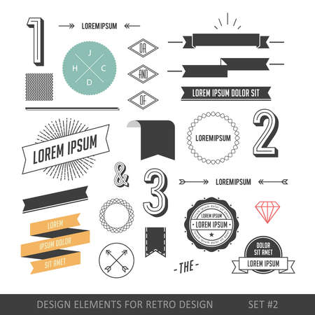 Hipster style infographics elements set for retro design. With ribbons, labels, rays, numbers, arrows, borders, diamonds and anchors.
