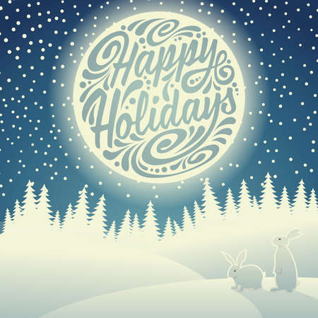 Christmas background with snowflakes, moon, hares and typographic doodle. Happy Holidays